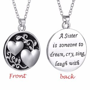 Sister Quote Heart Double Sided Circle Necklace